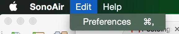 SonoAir 1.0 (BETA 4.0) Preferences