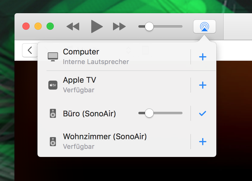 SonoAir & iTunes